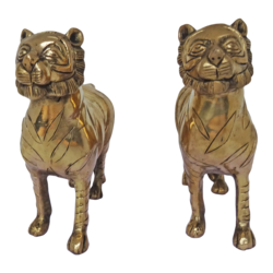 pair brass tiger statue set, 8 x 6 inch, vgo cart,8x6inch,handmade paper,handicrafts,animal statues,brass,GAL01132729437