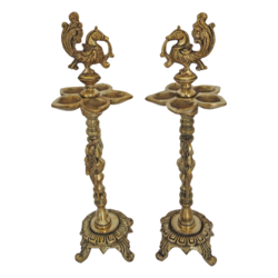 brass peacock pair kuthuvilaku (diya) with 5 face jyot showpiece, 4 x 13 inch, vgo cart,4x13inch,handmade paper,handicrafts,brass statue,brass,GAL01132729440