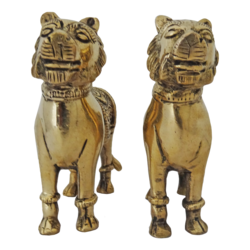 brass pair female lion statue set, 5 x 4 inch, vgo cart,5x4inch,handmade paper,handicrafts,brass statue,brass,GAL01132729444