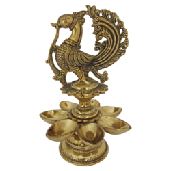 brass peacock diya with seven faced jyot, 8 x 12 inch, vgo cart,8x12inch,handmade paper,handicrafts,brass statue,brass,GAL01132729455