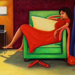 relaxed - woman in red relaxing on sofa, 24 x 18 inch, goutami mishra,24x18inch,canvas,paintings,figurative paintings,modern art paintings,art deco paintings,expressionism paintings,photorealism paintings,photorealism,realism paintings,contemporary paintings,realistic paintings,paintings for living room,paintings for bedroom,paintings for hotel,acrylic color,oil color,GAL046529462