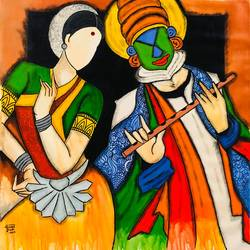 muralidhar , 34 x 36 inch, mrinal  dutt,34x36inch,canvas,paintings,figurative paintings,folk art paintings,religious paintings,abstract expressionism paintings,expressionism paintings,radha krishna paintings,contemporary paintings,paintings for dining room,paintings for living room,paintings for bedroom,paintings for office,paintings for bathroom,paintings for kids room,paintings for hotel,paintings for hospital,acrylic color,GAL01311729464