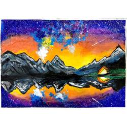 starry night painting, 10 x 7 inch, suvarna nirala,10x7inch,paper,landscape paintings,nature paintings | scenery paintings,paintings for bedroom,paintings for office,paintings for kids room,paintings for hotel,paintings for school,paintings for bedroom,paintings for office,paintings for kids room,paintings for hotel,paintings for school,watercolor,GAL01148129481