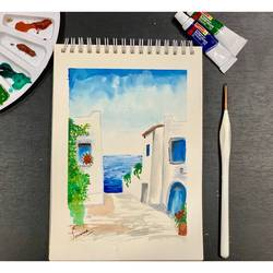 greece painting, 6 x 8 inch, suvarna nirala,6x8inch,paper,paintings,cityscape paintings,landscape paintings,modern art paintings,nature paintings | scenery paintings,street art,paintings for bedroom,paintings for kids room,paintings for hotel,watercolor,GAL01148129483