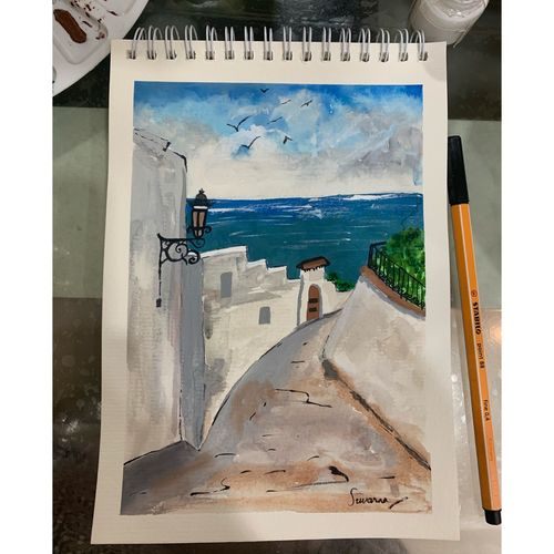 greece painting, 6 x 8 inch, suvarna nirala,6x8inch,paper,paintings,cityscape paintings,landscape paintings,modern art paintings,paintings for living room,paintings for bedroom,paintings for kids room,paintings for hotel,watercolor,GAL01148129484