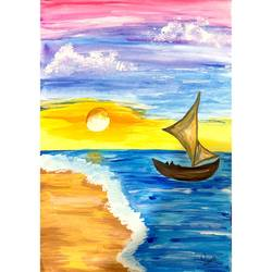 the boat, 10 x 13 inch, suvarna nirala,10x13inch,paper,paintings,landscape paintings,modern art paintings,nature paintings | scenery paintings,paintings for bedroom,paintings for kids room,paintings for school,watercolor,GAL01148129488