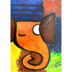 ganesha, 9 x 12 inch, suvarna nirala,9x12inch,paper,paintings,ganesha paintings | lord ganesh paintings,paintings for bedroom,paintings for kids room,paintings for school,watercolor,GAL01148129489