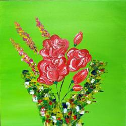roses in circle, 12 x 12 inch, raj gaurav,12x12inch,canvas,abstract paintings,acrylic color,GAL01793829495