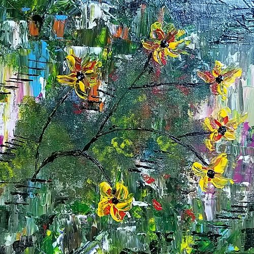 flower in dark, 12 x 10 inch, raj gaurav,12x10inch,canvas,paintings,abstract paintings,acrylic color,GAL01793829500