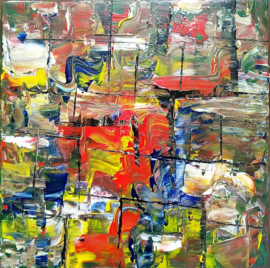 dragging shades of color, 12 x 12 inch, raj gaurav,12x12inch,canvas,paintings,abstract paintings,acrylic color,GAL01793829502