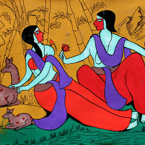 adoration, 37 x 20 inch, chetan katigar,37x20inch,canvas,paintings,abstract paintings,figurative paintings,flower paintings,landscape paintings,modern art paintings,conceptual paintings,religious paintings,nature paintings | scenery paintings,abstract expressionism paintings,art deco paintings,expressionism paintings,impressionist paintings,radha krishna paintings,contemporary paintings,love paintings,paintings for dining room,paintings for living room,paintings for bedroom,paintings for office,paintings for hotel,acrylic color,GAL026629510