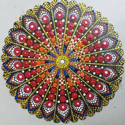 dot mandala painting, 10 x 10 inch, hemlata shejale,10x10inch,wood board,paintings,art deco paintings,paintings for dining room,paintings for living room,paintings for office,paintings for kids room,paintings for school,acrylic color,wood,GAL01786629513