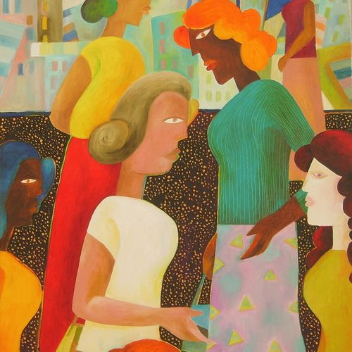 busy time, 24 x 36 inch, chaitali chatterjee,24x36inch,canvas,paintings,figurative paintings,cityscape paintings,contemporary paintings,paintings for dining room,paintings for office,paintings for hotel,paintings for school,paintings for hospital,oil color,GAL01566229514