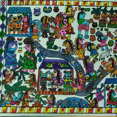mithila village, 12 x 10 inch, rayana saha,12x10inch,drawing paper,paintings,madhubani paintings | madhubani art,paintings for dining room,paintings for living room,paintings for hotel,paintings for school,pen color,paper,GAL01304629515