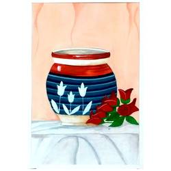 pot and roses, 17 x 23 inch, niharika  singh,17x23inch,cartridge paper,paintings,still life paintings,poster color,GAL01438929516