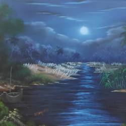 moonlit river, 28 x 18 inch, dr dileep  k j,28x18inch,canvas board,paintings,landscape paintings,nature paintings | scenery paintings,paintings for living room,paintings for bedroom,paintings for office,paintings for hotel,oil color,GAL01771029521