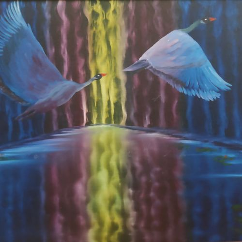 love birds, 28 x 18 inch, dr dileep  k j,28x18inch,canvas board,paintings,conceptual paintings,nature paintings | scenery paintings,love paintings,paintings for living room,paintings for bedroom,paintings for office,paintings for hotel,oil color,GAL01771029524