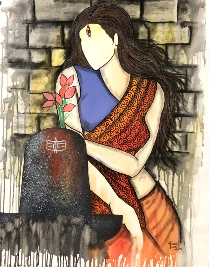 trishna , 36 x 28 inch, mrinal  dutt,36x28inch,canvas,paintings,abstract paintings,figurative paintings,religious paintings,abstract expressionism paintings,contemporary paintings,paintings for dining room,paintings for living room,paintings for bedroom,paintings for office,paintings for bathroom,paintings for kids room,paintings for hotel,paintings for kitchen,paintings for school,paintings for hospital,acrylic color,charcoal,mixed media,GAL01311729529