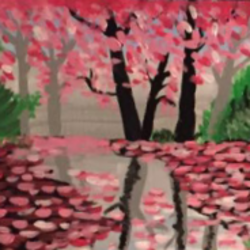 pink blossoms , 16 x 12 inch, amrita kaur khalsa,paintings for living room,nature paintings,canvas,acrylic color,16x12inch,GAL011172953Nature,environment,Beauty,scenery,greenery,trees,water,beautiful,leaves,pink