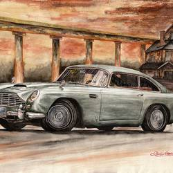 aston martin db5 , 30 x 23 inch, samit kamar,30x23inch,handmade paper,paintings,cityscape paintings,landscape paintings,paintings for living room,paintings for office,paintings for hotel,watercolor,GAL0443429532