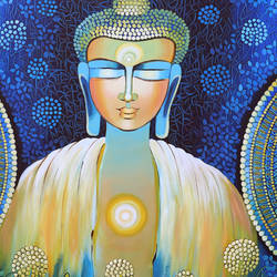be a buddha, 36 x 48 inch, nitu chhajer,36x48inch,canvas,paintings,buddha paintings,acrylic color,GAL058229539