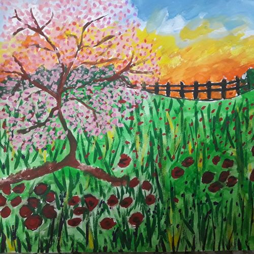 the landscape , 11 x 15 inch, amrita kaur khalsa,landscape paintings,paintings for living room,nature paintings,paper,poster color,11x15inch,GAL011172954Nature,environment,Beauty,scenery,greenery