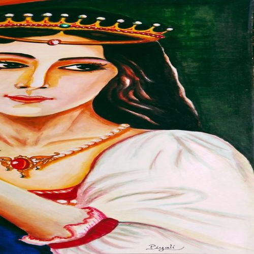 lady with grapes, 12 x 18 inch, piyali muni,12x18inch,drawing paper,paintings,figurative paintings,paintings for dining room,paintings for living room,paintings for bedroom,paintings for hotel,paintings for kitchen,acrylic color,GAL0748329542