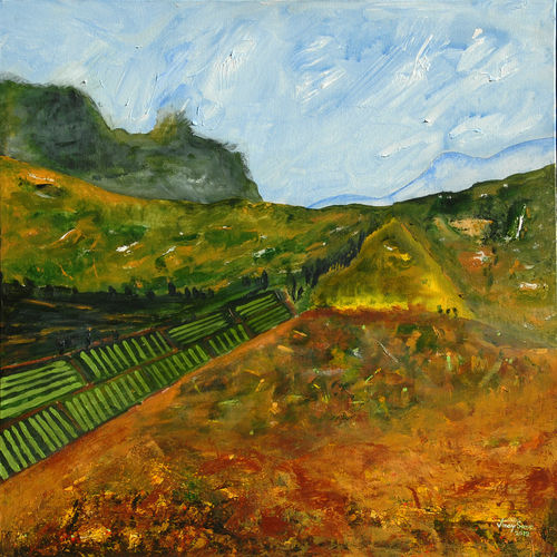 idyllic valley - ii, 30 x 30 inch, vinay sane,30x30inch,canvas,paintings,landscape paintings,nature paintings | scenery paintings,paintings for dining room,paintings for living room,paintings for bedroom,paintings for office,paintings for hotel,paintings for hospital,acrylic color,GAL01814929552