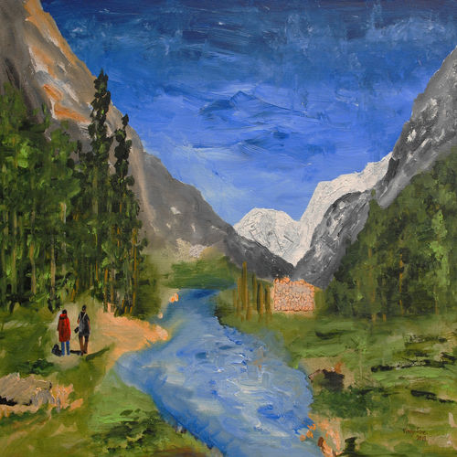 walking towards heaven, 36 x 24 inch, vinay sane,36x24inch,canvas,paintings,landscape paintings,nature paintings   scenery paintings,paintings for dining room,paintings for living room,paintings for bedroom,paintings for office,paintings for hotel,paintings for hospital,acrylic color,GAL01814929553