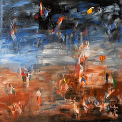 earth, heaven and the guardians, 36 x 18 inch, vinay sane,36x18inch,canvas,paintings,abstract paintings,conceptual paintings,paintings for dining room,paintings for living room,paintings for bedroom,paintings for office,paintings for hotel,paintings for hospital,acrylic color,GAL01814929556