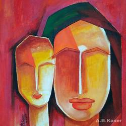 mother and child-3, 10 x 12 inch, a.b.  kaser,abstract paintings,paintings for living room,canvas,acrylic color,10x12inch,GAL06362956
