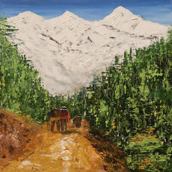 trekkers, 24 x 36 inch, vinay sane,24x36inch,canvas,paintings,landscape paintings,nature paintings | scenery paintings,impressionist paintings,paintings for dining room,paintings for living room,paintings for bedroom,paintings for office,paintings for hotel,paintings for hospital,acrylic color,GAL01814929560