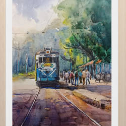 kolkata cityscape2, 12 x 16 inch, santosh basak,12x16inch,canson paper,paintings,cityscape paintings,paintings for living room,paintings for office,paintings for hotel,pen color,watercolor,GAL01815429561