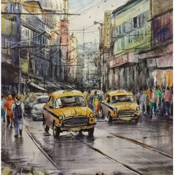 kolkata cityscape1, 12 x 16 inch, santosh basak,12x16inch,cartridge paper,paintings,cityscape paintings,paintings for living room,paintings for office,paintings for hotel,watercolor,ball point pen,GAL01815429562