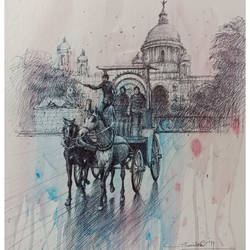 kolkata cityscape4, 12 x 16 inch, santosh basak,12x16inch,thick paper,paintings,cityscape paintings,paintings for living room,paintings for office,paintings for hotel,watercolor,ball point pen,paper,GAL01815429564