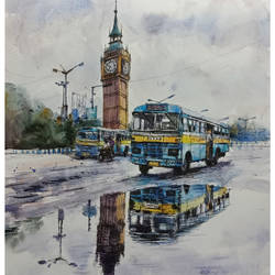 kolkata cityscape6, 12 x 16 inch, santosh basak,12x16inch,canson paper,paintings,cityscape paintings,paintings for living room,paintings for office,paintings for hotel,watercolor,ball point pen,paper,GAL01815429566