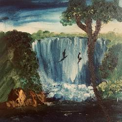 waterfall scenery, 4 x 5 inch, neelam pawar,4x5inch,canvas,paintings,landscape paintings,nature paintings | scenery paintings,acrylic color,oil color,GAL01571729567