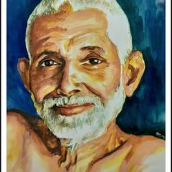 bhagavan ramana magarshi, 12 x 17 inch, rajmohan ramamoorthi,12x17inch,canson paper,paintings,religious paintings,portrait paintings,portraiture,realism paintings,paintings for living room,paintings for office,paintings for hotel,paintings for school,paintings for hospital,watercolor,GAL01816129572