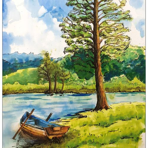 lakeview , 12 x 17 inch, rajmohan ramamoorthi,12x17inch,canson paper,paintings,landscape paintings,nature paintings | scenery paintings,paintings for living room,paintings for bedroom,paintings for office,paintings for kids room,paintings for hotel,paintings for hospital,ink color,watercolor,GAL01816129573