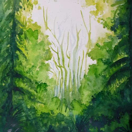 deep forest, 12 x 17 inch, rajmohan ramamoorthi,12x17inch,canson paper,paintings,wildlife paintings,landscape paintings,nature paintings   scenery paintings,realism paintings,paintings for living room,paintings for bedroom,paintings for office,paintings for kids room,paintings for hotel,paintings for school,paintings for hospital,watercolor,GAL01816129574