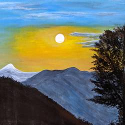 fascinating view of sunset, 24 x 20 inch, promila singh,24x20inch,thick paper,paintings,landscape paintings,paintings for living room,acrylic color,GAL0823229580
