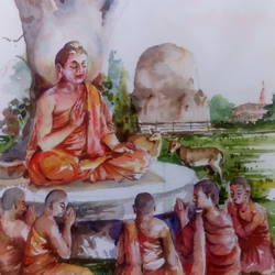 lord gautam buddha, 18 x 22 inch, pandit mulay,buddha paintings,paintings for living room,religious paintings,paintings for office,thick paper,watercolor,18x22inch,religious,peace,meditation,meditating,gautam,goutam,buddha,tree,forest,sitting,monks,giving blessing,teaching,learning,peaceful,GAL04522959
