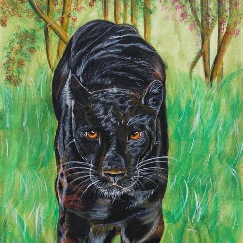 panther in wild, 24 x 38 inch, nupur mishra,24x38inch,canvas,paintings,wildlife paintings,paintings for dining room,paintings for living room,paintings for bedroom,paintings for office,paintings for bathroom,paintings for kids room,paintings for hotel,paintings for kitchen,paintings for school,paintings for hospital,acrylic color,GAL01456129606