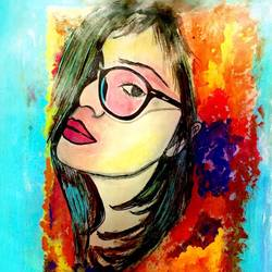 specky girl, 8 x 10 inch, nikki saini,modern art paintings,paintings for living room,paper,acrylic color,8x10inch,GAL011572961
