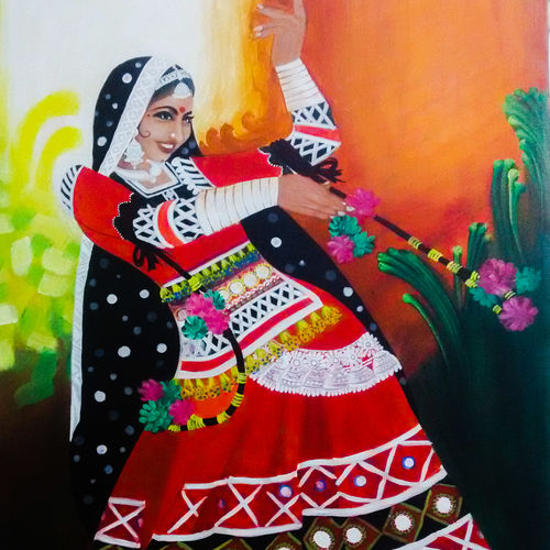 'chirmi' the folk dancer, 23 x 31 inch, pankaj tunwal,figurative paintings,paintings for living room,paintings for office,love paintings,canvas,mixed media,23x31inch,GAL04332962heart,family,caring,happiness,forever,happy,trust,passion,romance,sweet,kiss,love,hugs,warm,fun,kisses,joy,friendship,marriage,chocolate,husband,wife,forever,caring,couple,sweetheart