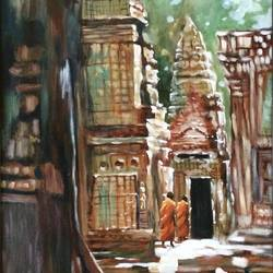 angkor, 24 x 36 inch, aditi mitra,24x36inch,canvas,paintings,abstract paintings,paintings for dining room,paintings for living room,paintings for office,paintings for hotel,paintings for dining room,paintings for living room,paintings for office,paintings for hotel,acrylic color,GAL01820629630