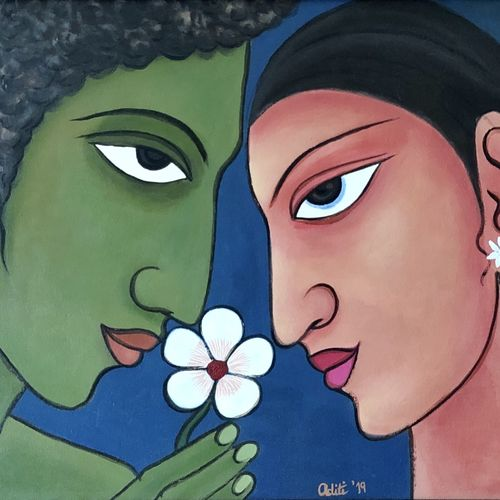 romantic couple, 24 x 20 inch, aditi mitra,24x20inch,canvas,paintings,abstract paintings,paintings for dining room,paintings for living room,paintings for bedroom,paintings for office,paintings for hotel,acrylic color,GAL01820629632