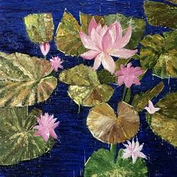 lotus pond, 16 x 20 inch, aditi mitra,16x20inch,canvas,paintings,abstract paintings,flower paintings,modern art paintings,paintings for dining room,paintings for living room,paintings for bedroom,paintings for office,paintings for bathroom,paintings for hotel,acrylic color,GAL01820629635