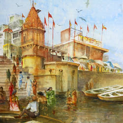 banaras ghat-4, 22 x 30 inch, pandit mulay,landscape paintings,paintings for living room,thick paper,watercolor,22x30inch,GAL04522964