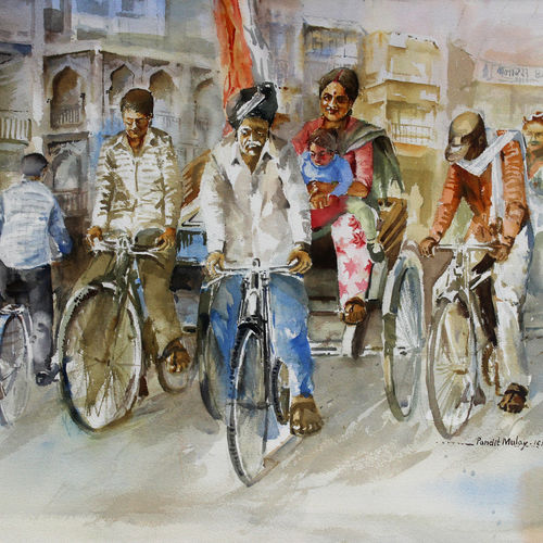 cycle rickshaw, 30 x 22 inch, pandit mulay,figurative paintings,paintings for living room,fabriano sheet,watercolor,30x22inch,GAL04522965
